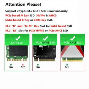 QNINE Dual M.2 PCIe Adapter, M.2 NVME SSD (M Key) or M.2 SATA SSD (B Key) 22110 2280 2260 2242 2230 to PCI-e 3.0 x4 Host Controller Expansion Card with Low Profile Bracket for PC Desktop