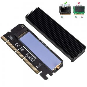 QNINE NVME Adapter PCIe x16 with Heat Sink, M.2 SSD Key M to PCI Express Expansion Card, Support PCIe x4 x8 x16 Slot, Support 2230 2242 2260 2280, Compatible for Windows XP / 7/8 / 10