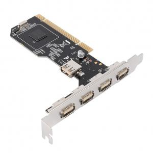 QNINE Internal USB 2.0 PCI Card, 5 Port (4 External & 1 Internal) PCI Expansion to USB 2 Adapter Hub Controller, High Speed 480Mbps for Desktop